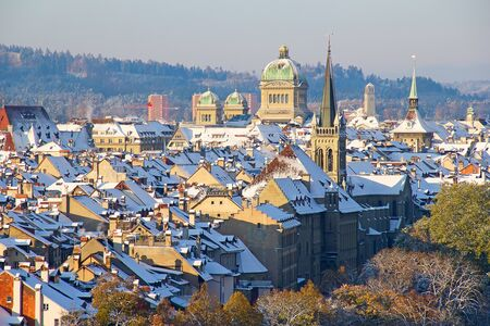 Bern city covered with fresh snow photo