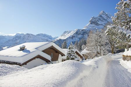 Winter in the swiss alps, Switzerland photo