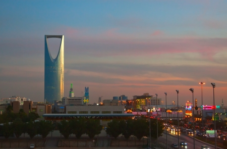 KSA: RIYADH - DECEMBER 09: Kingdom tower on December 09, 2009 in Riyadh, Saudi Arabia. Kingdom tower is a business and convention center, shoping mall and one of the main landmarks of Riyadh city