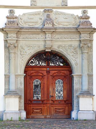 Doorway of the old house in the german part of Switzerland photo