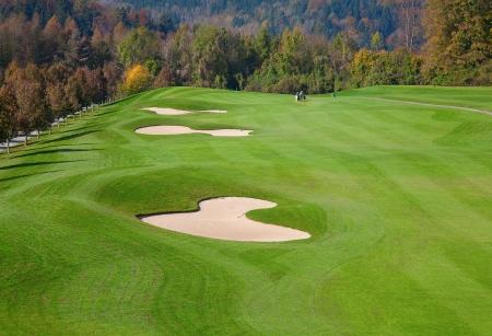 groene gras van de golfbaan omgeven door herfst bos Stockfoto