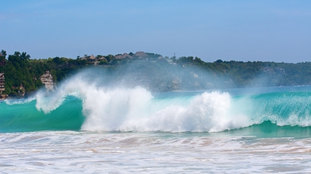 beautiful balinese Dreamland beach (One of the most popular surfing areas on Bali, Indonesia) photo