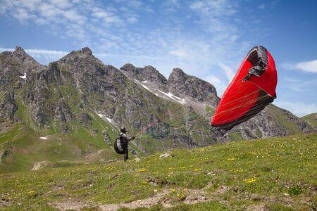 pizol: Paragliding in swiss alps near Pizol, Switzerland