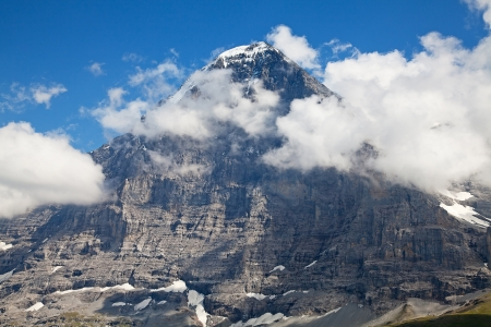 eiger: Famous North face of Eiger - one of the most difficult ascents in the swiss alps