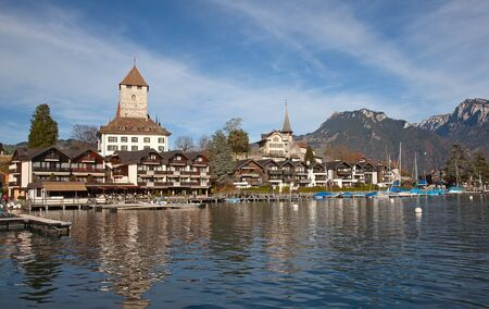 Spiez castle on lake Thun (Jungfrau region, canton Bern, Switzerland)