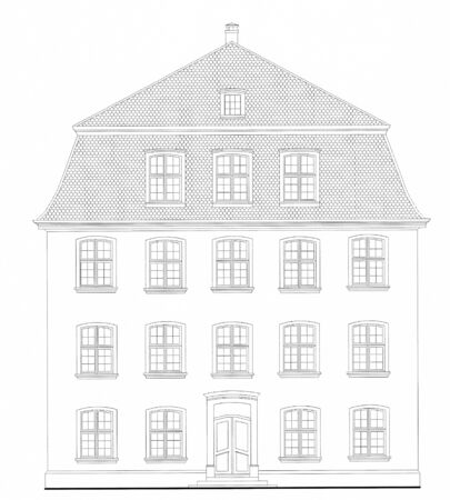 Architectural plan of the 19th century house photo