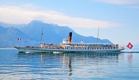 Vintage steam boat on lake Leman(Geneva lake)