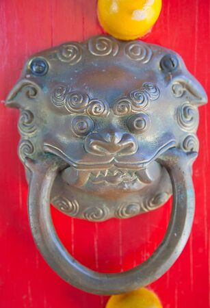 Traditional chinese lion door knob Stock Photo - 17021840