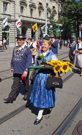 ZURICH - AUGUST 1: Swiss National Day parade on August 1, 2009 in Zurich, Switzerland. Representatives of canton Uri in a historical costume. Stock Photo - 17003294