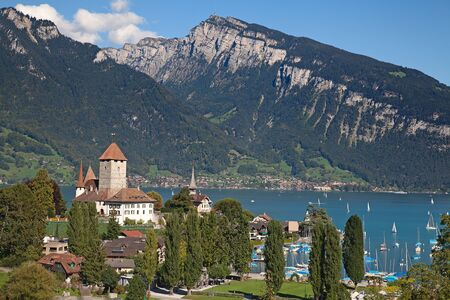 Spiez castle on lake Thun (Jungfrau region, canton Bern, Switzerland) photo