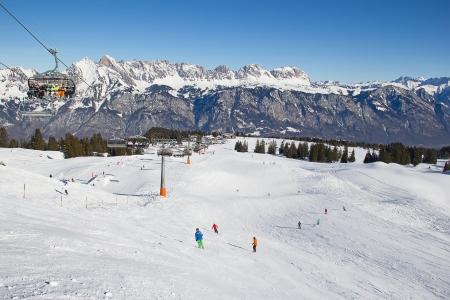 Slope on the skiing resort Flumserberg. Switzerland Stock Photo - 18080258
