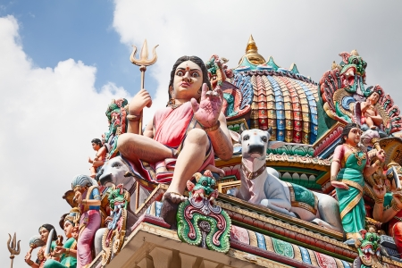 mariamman: Fragment of decorations of the Hindu temple Sri Mariamman in Singapore