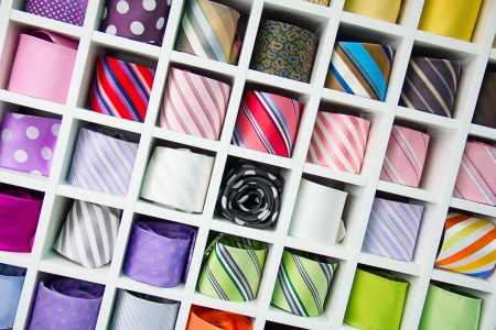 Shelf full of fine silk neckties on a Chinese street market photo