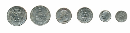 dime: Various US coins (dime, quarter, half dollar)