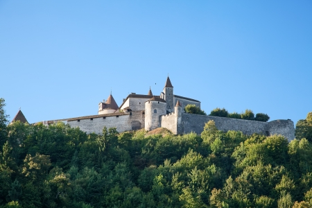 gruyere: Famous castle Gruyere in canton Fribourg, Switzerland Stock Photo