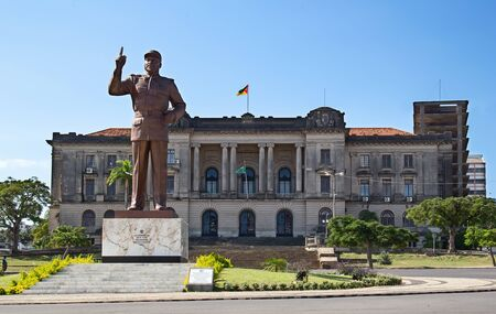 City hall and statue of Michel Samora in Maputo, Mozambique photo