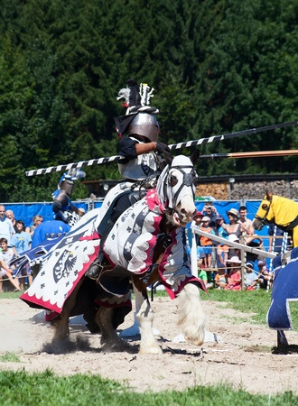 AGASUL, SWITZERLAND - AUGUST 18: Unidentified men in knight armor on the horse during tournament reconstruction near Kyburg castle on August 18, 2012 in Agasul, Canton Zurich, Switzerland.