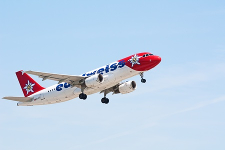 ZURICH - MAY 24:Airbus A320 Edelweiss air taking off in Zurich, Switzerland. Zurich International Airport is one of the major Europian Hub and home port of Swiss airline.