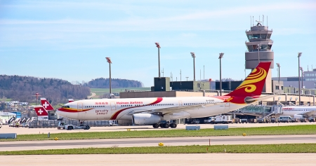 ZURICH - MAY 24:Hainan Airlines B-767 taxiing before take off on May 24, 2010 in Zurich, Switzerland. Zurich International Airport is one of the major Europian Hub and home port of Swiss airline.