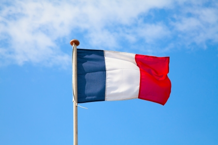 french flag: French flag in the blue sky