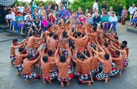 chant: DENPASAR - JULY 27: Traditional Balinese Kecak dance shown in Denpasar, Bali, Indonesia on July 27, 2010. Kecak (also known as Ramayana Monkey Chant) is very popular cultural show on Bali Editorial