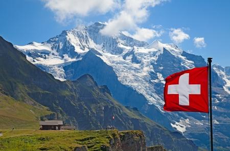 Famous mount Jungfrau in the swiss alps