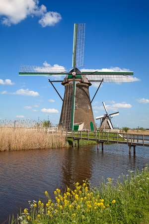 Ancient windmils near Kinderdijk, Netherlands photo