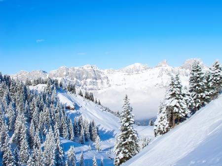 Slope on the skiing resort Flumserberg. Switzerland photo