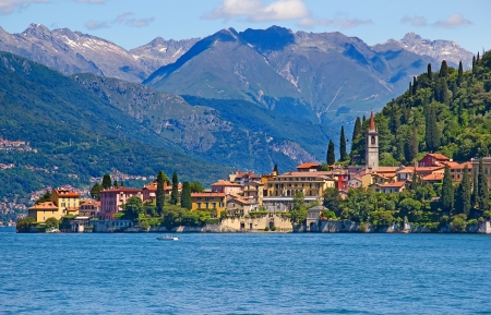 Panoramic view of Tremezzo town (Como lake, Italy)