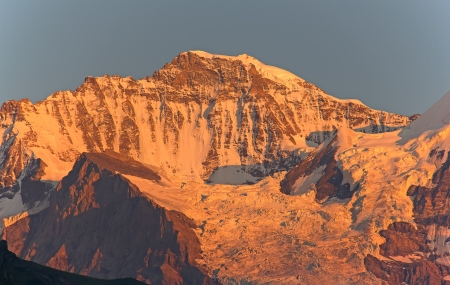 aletsch: Jungfrau mountain in the swiss alps at the sunset