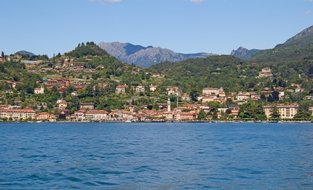 Panoramic view of Varena town (Como lake, Italy) photo