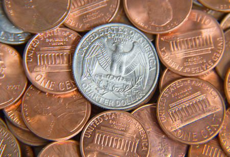 Pile of the US coins photo