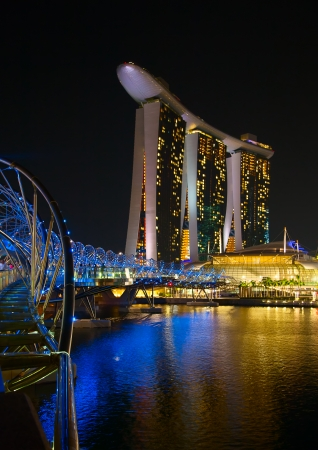 standalone: SINGAPORE - FEBRUARY 5: The Marina Bay Sands complex at night on February 5, 2012 in Singapore. Marina Bay Sands is an integrated resort and billed as the worlds most expensive standalone casino property. Editorial