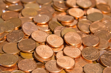 Pile of the euro cent coins photo