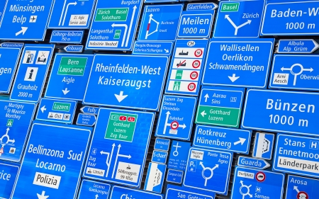 Collection of the swiss road signs photo