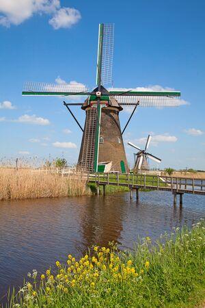 Ancient windmils near Kinderdijk, Netherlands photo