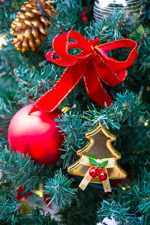 s eve: Fragment of the Christmas tree decoration Stock Photo