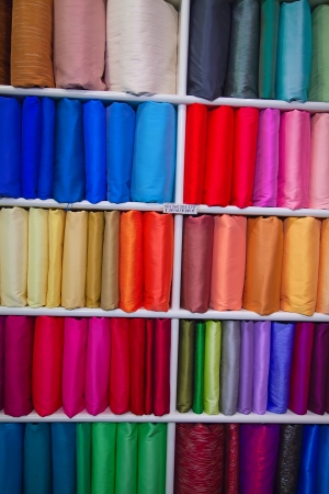 Colorful samples of the thai silk in the shop photo