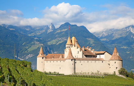 Famous castle Chateau dAigle in canton Vaud, Switzerland