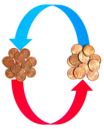 cash cycle: Currency Exchange cycle on the white