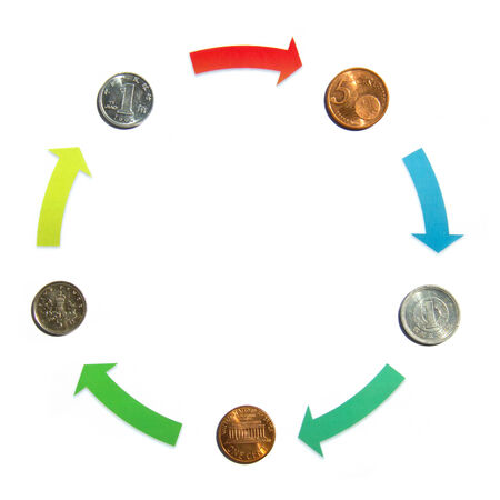 Currency Exchange cycle on the white photo