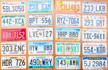 Collection of the old number plates