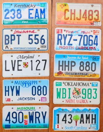 Collection of the old number plates Editorial