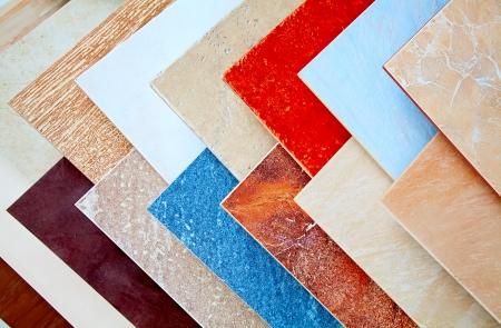 Samples of a ceramic tile in shop