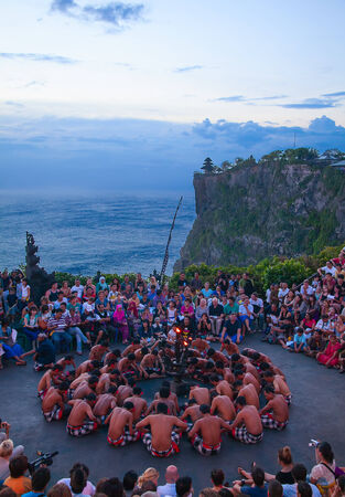 kecak: DENPASAR - JULY 27: Traditional Balinese Kecak dance shown in Denpasar, Bali, Indonesia on July 27, 2010. Kecak (also known as Ramayana Monkey Chant) is very popular cultural show on Bali Editorial
