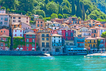 Landscapes around famous lake Como in northern Italy photo