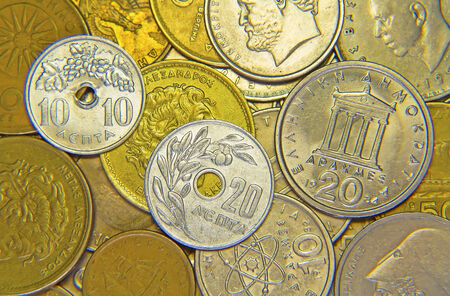 greek coins: Huge pile of the greek coins Stock Photo
