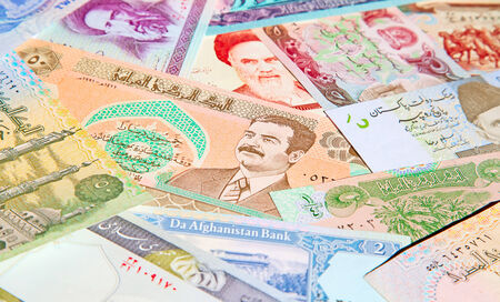 iraq money: Variety of Middle East banknotes Stock Photo