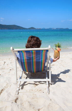 colada: Pineapple cocktail on the white sandy beach Stock Photo