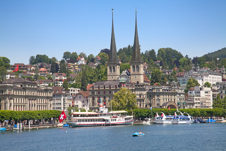 Lucern - famous swiss medieval town on the Reuss river photo